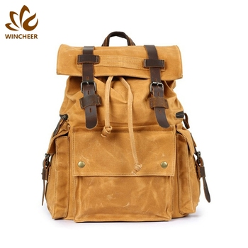 2019 New fashion yellow casual bagpack school bags custom logo mens canvas backpack