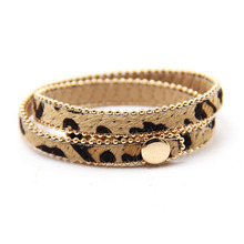 Casual Double Layers Leather Bracelet Wrap Cuff Bangle with Clasp