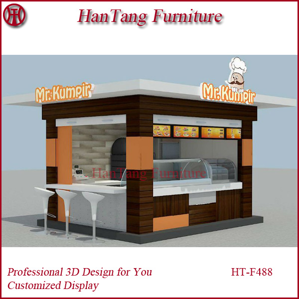 HT-F488 new 3D design customized shiny surface baking finished outdoor wooden fast food kiosk