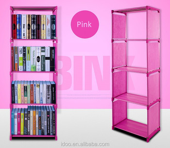 Simple Modern Creative Design Pink Plastic Fabric Bookshelf