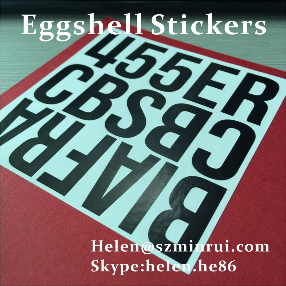 Custom printed eggshell stickers with design10x10cm size black ink text on white egg shell paper vinyl decal