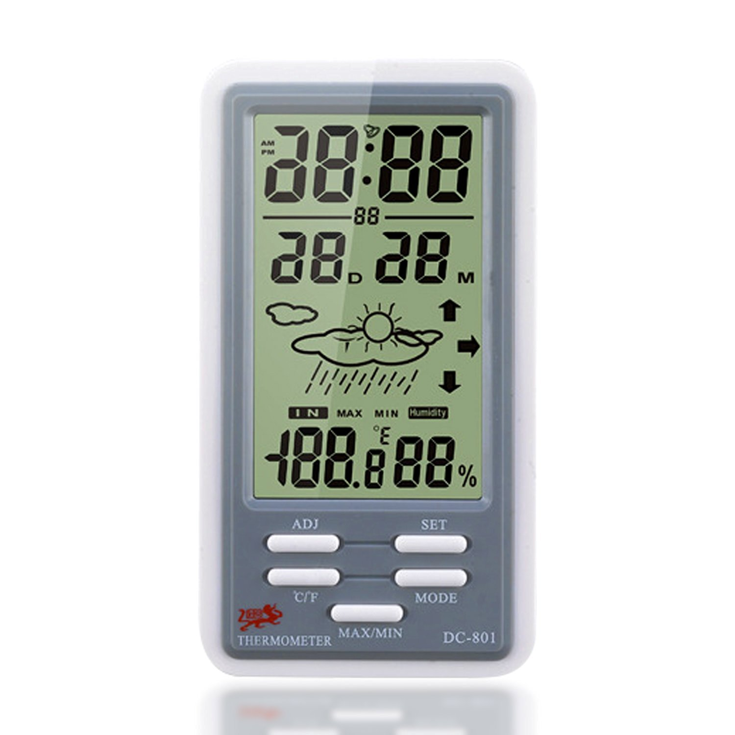 Temperature Humidity Meter,Beyoung (TM) Portable Mini LCD Screen Digital Indoor Outdoor Thermometer Hygrometer Meter With Min/ Max Value And Clock (Gray)