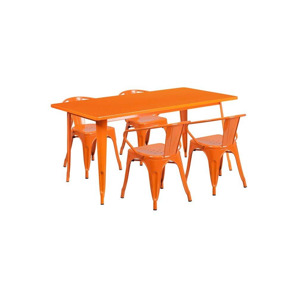 """Offex OFX-380692-FF 31.5"""" x 63"""" Rectangular Metal Indoor Table Set with 4 Arm Chairs - Orange"""