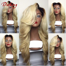 Dark Root 1B 613 Ombre Blonde Color Virgin Malaysian Human Hair Long Blonde Transparent Lace Front Wig 24 Inch In Stock