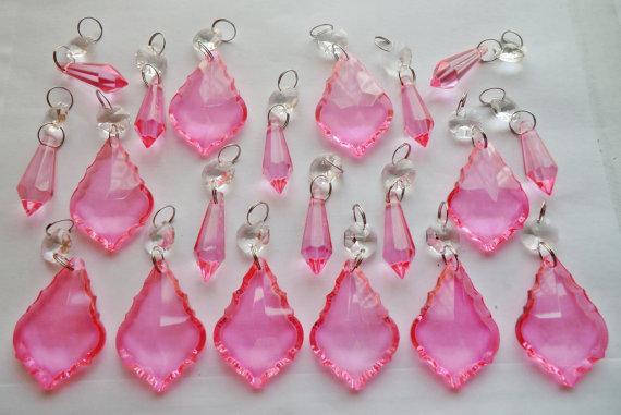 Lampadario Gocce Rosa : Rosa ragazze rosa lampadario gocce cristalli di vetro gocce