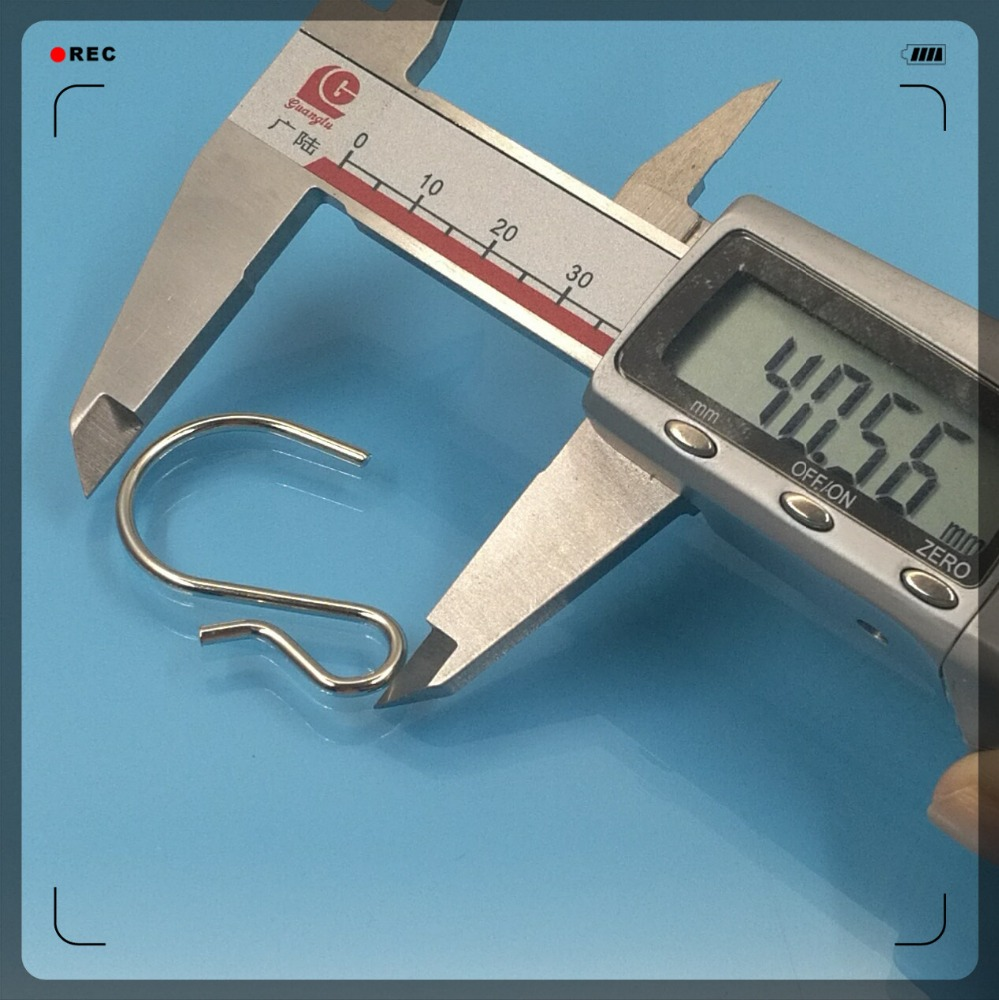 Stock size 40mm length wave r shape end nickel plated steel wire forming s hook
