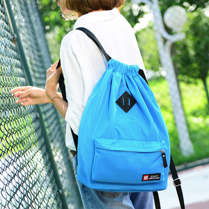 Small waterproof nylon drawstring beach backpack bag with front zipper pocket