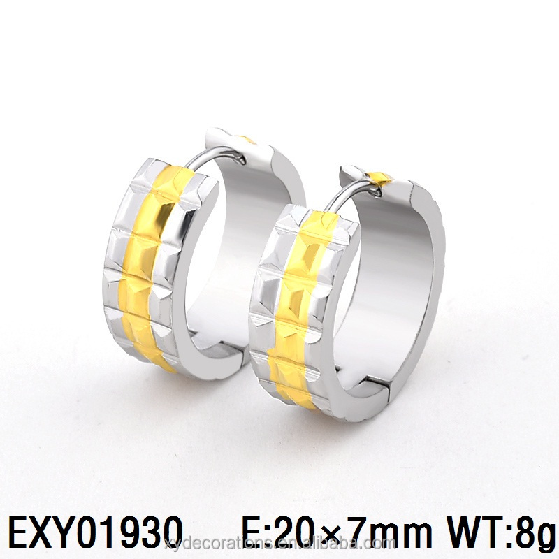 EXY01930 High Quality Stainless Steel Simple Big Gold Plating Hoop Earring Factory Price