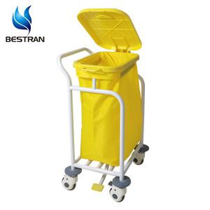 BT-SLT009 Steel Food pedal open cover medical hospital linen carts suppliers