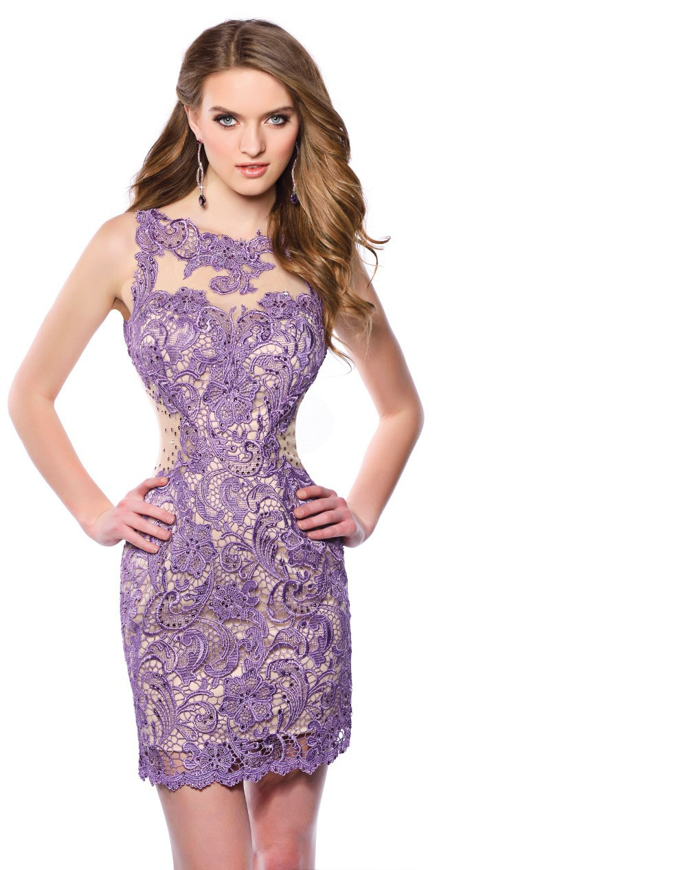 389035fe4ba2a Get Quotations · Lilac   Lavender Short Lace Homecoming Dresses 2015 Scoop  Neckline Beaded Sheer Backless Homecoming Dress Women
