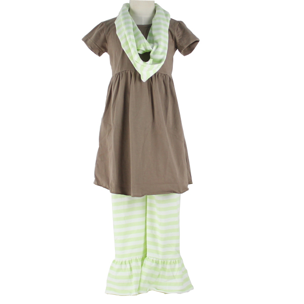 kids clothing 2017 elegant girls/ baby /kids dress /ruffle pants with a scarf design three pieces baby clothes