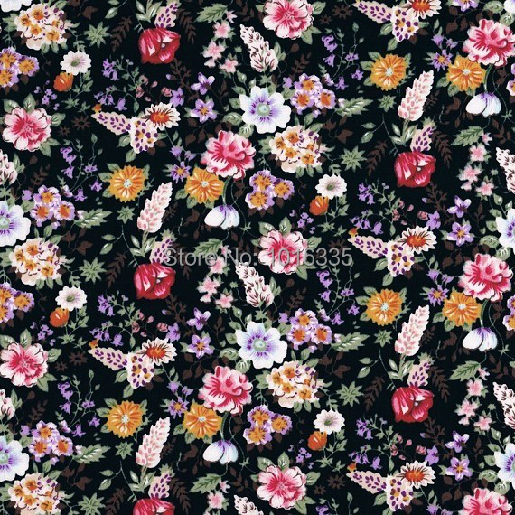 Hot sale Black floral fabric printed 100% cotton fabric ...