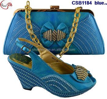 34f6120971f48 Marzo Vendita Calda Popolare CSB1184 blu Anziane signore Scarpe e borsa