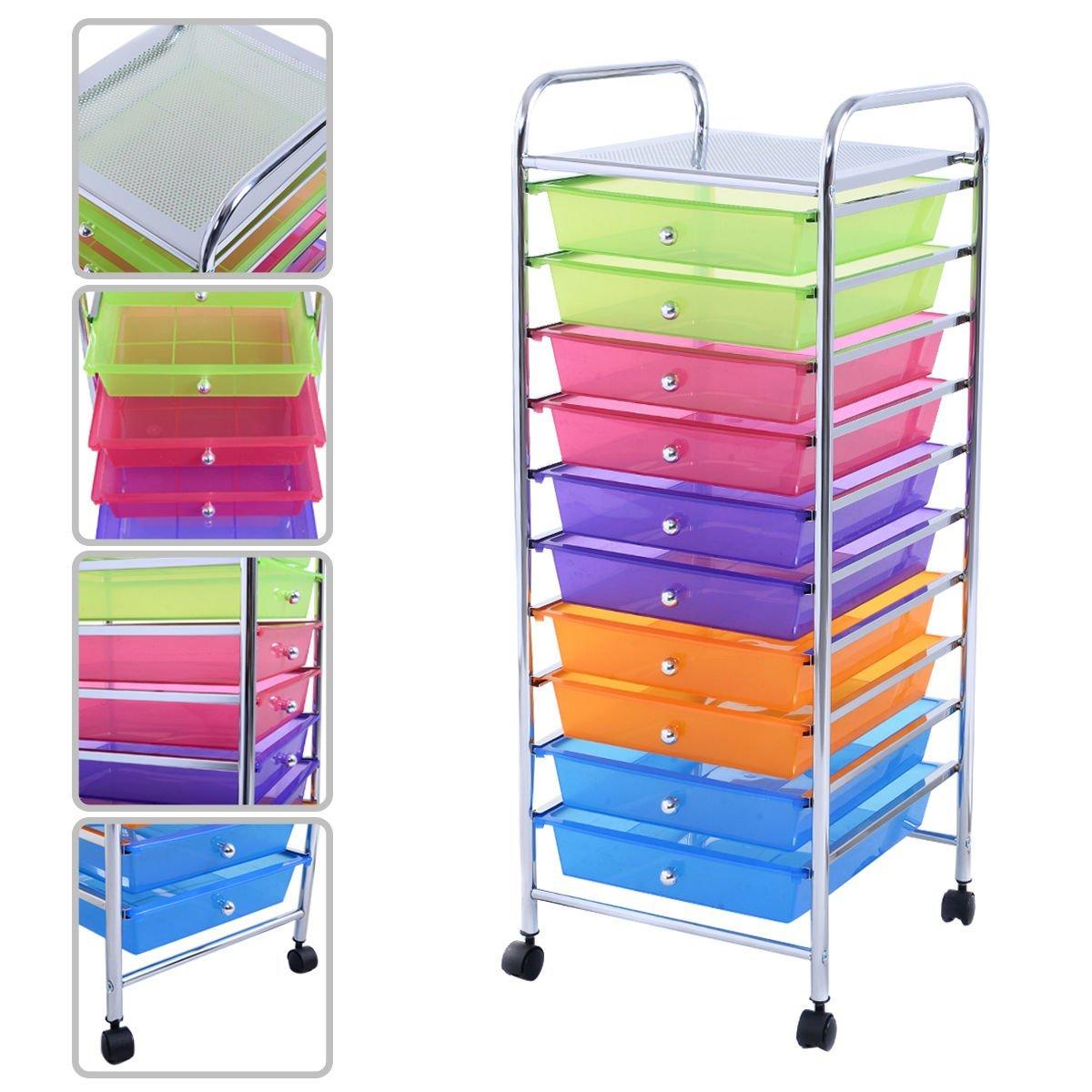 Get Quotations · KAYSEV 10 Drawer Rolling Storage Organizer Cart, Multi Purpose  Scrapbook Paper Office School Utility