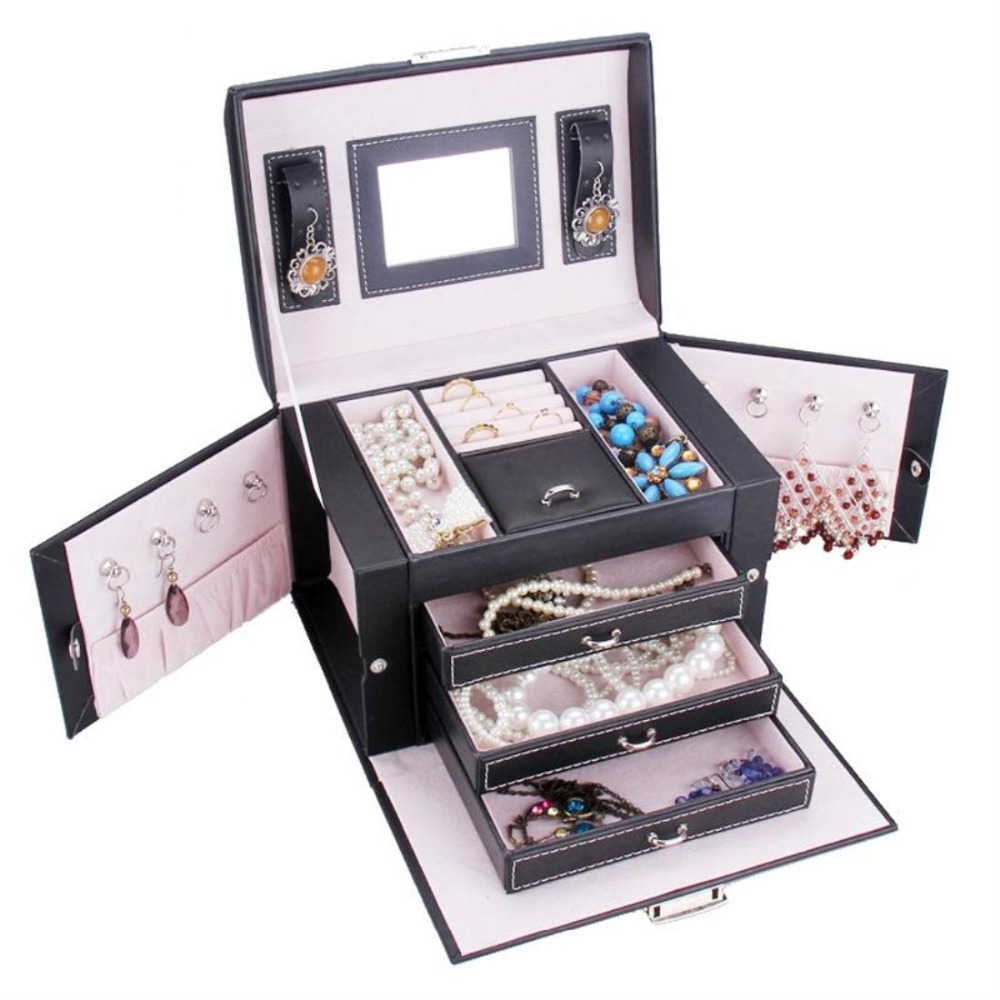 Get Quotations · Top Quality Luxury Leather Jewelry Box Fashion Jewelry Case  With Mirror Many CompartmentsZG165