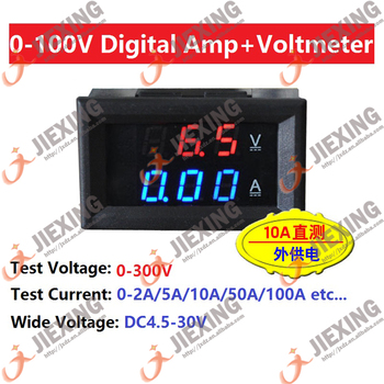 DC 0-100V 200A Volt meter Ammeter blue + red color