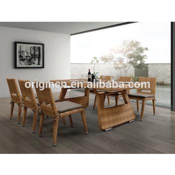 6 Plazas De Ratan Interior O Patio Cena Muebles De Mimbre Comedor ...