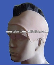 Factory direct sell pu bald cap with black wig mohawk wig helmet mohawk
