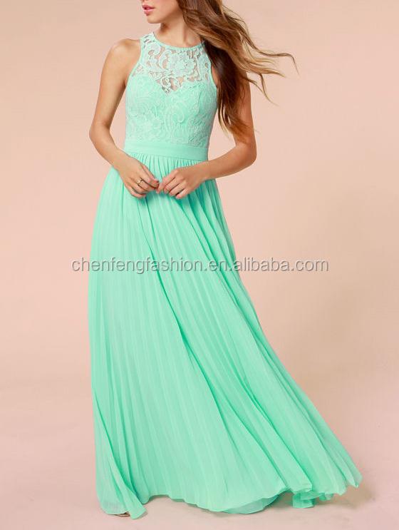 Mintgroene maxi jurk