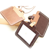 Custom tanned leather lanyard greeting staff card holder