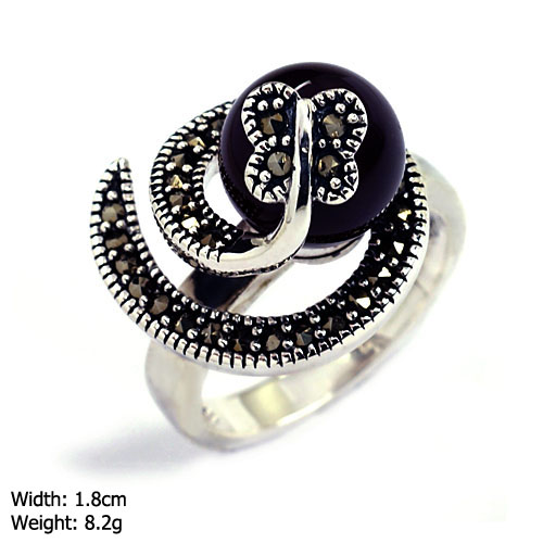 RKP-0424 Black stone ring marcasite jewerly 925 silver ring for men 925 sterling silver jewelry wholesaler