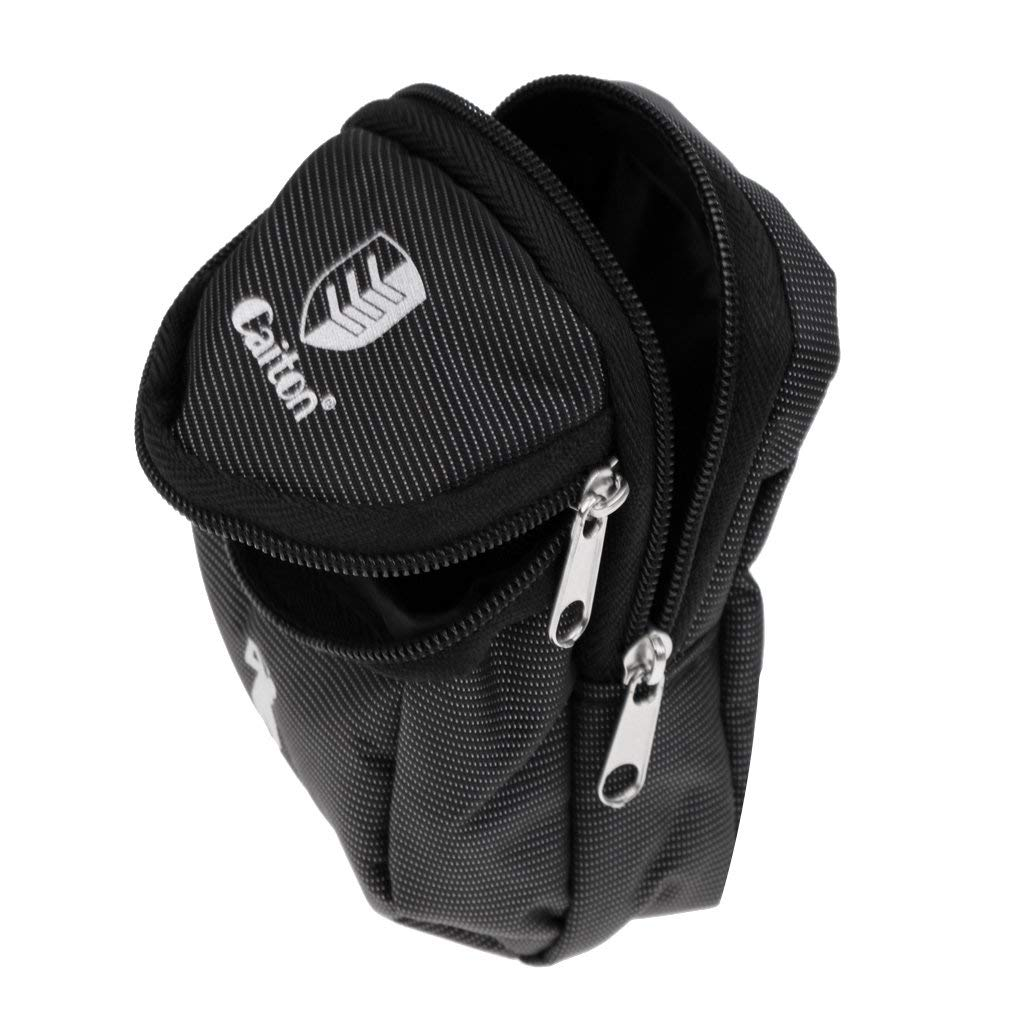 Baoblaze New Zippered Mini Golf Ball Holder Bag Black (Storage Balls, Tees, Divot Tools, Ball Markers)