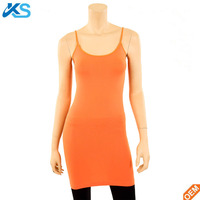 OEM cheap woman's Extra Long Stretch Camisole Nylon spandex blend Spaghetti Strap Tank Top
