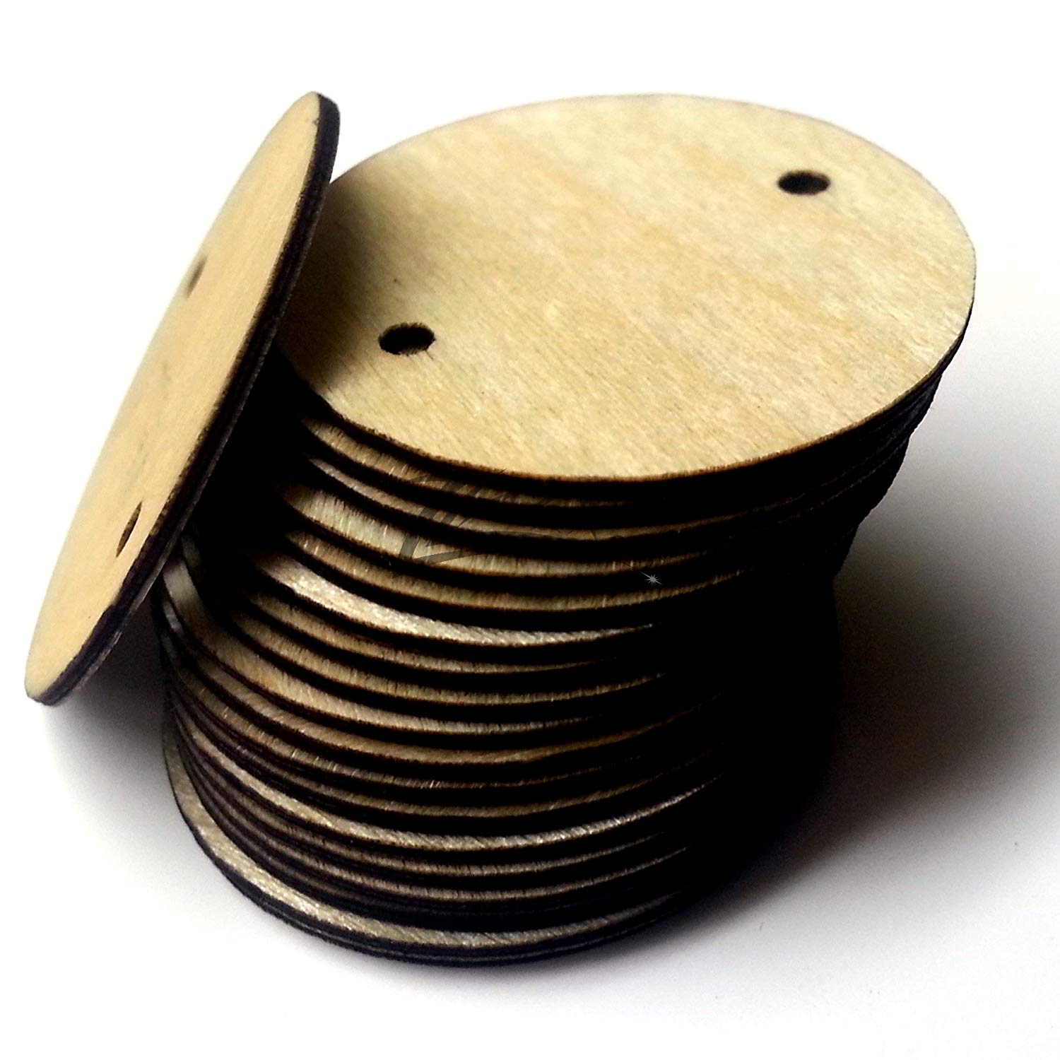 """ZLazr: 100 1"""" X 1/32"""" Small Super THIN Wooden Circles Family Birthday Craft Disc Two 2mm Hole Tags Unfinished Birch Wood Made in the USA!"""