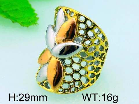29mm Big Flower Gold Plated Bridal Ring Stainless Steel Ring For Women
