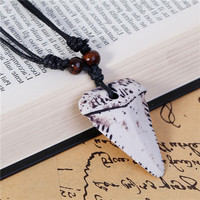 Black Wax Cord White Shark Teeth Tooth Resin Natural Gemstone Necklace