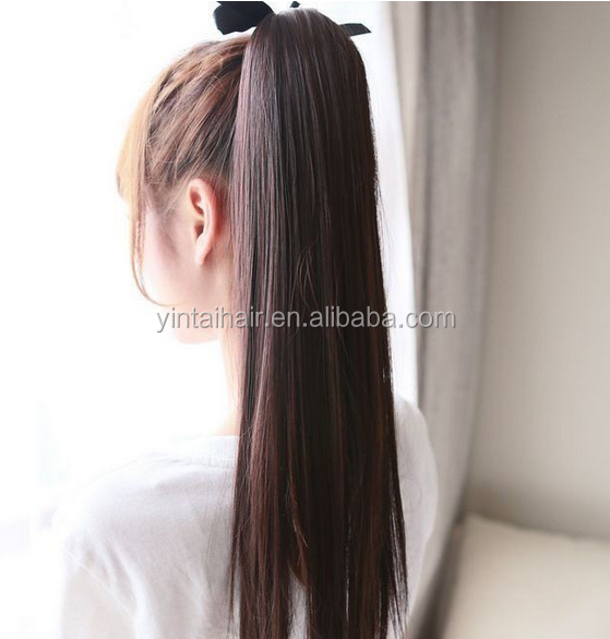 Alibaba Express Wholesale Brown /blonde Ponytail hair piece Extension Long Straight clip in/on Hairpiece
