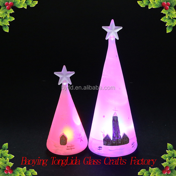 glass white light up christmas tree painted house ornament