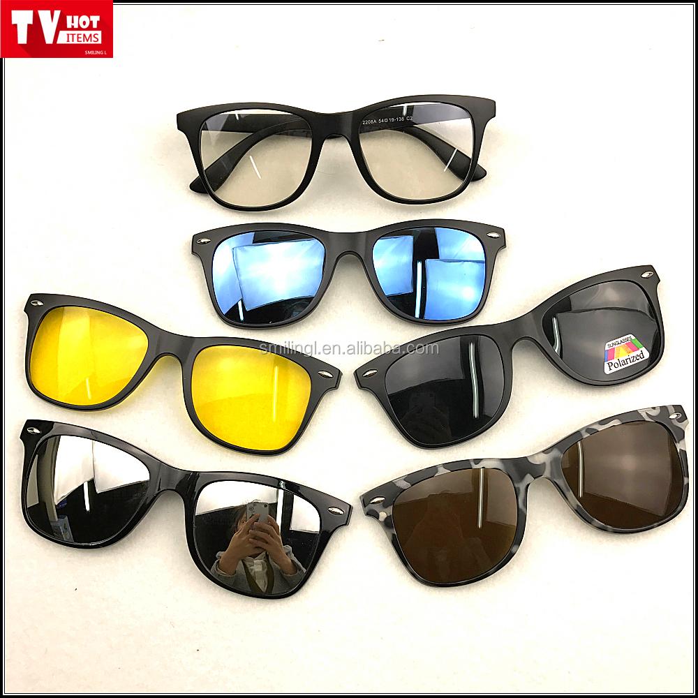 aa49dca41 متعدد الألوان المغناطيسي كليب على النظارات الشمسية الضوئية للخارجية مع 5  عدسات مختلفة