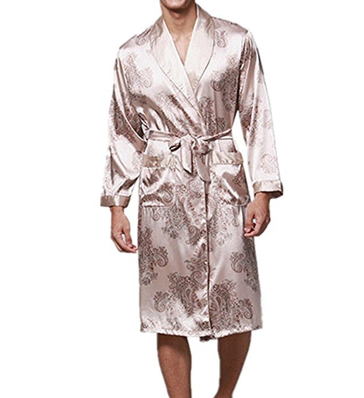 999c207657 Get Quotations · FashionRun Men s Silk Nightwear Bath Robes Short Kimono  Robes Dragon Pattern