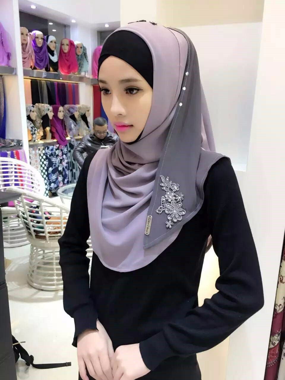 Tj3000 Beautiful New Muslim Chiffon Shawl Wrap Muslim
