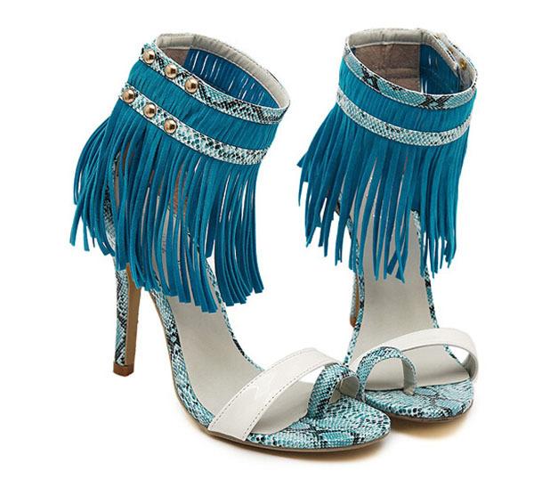 6ba5f32106c Get Quotations · 2015 New fashion 11cm sandals fringe sandals high heels  fringe gladiator sandals fringe heel sandal FA