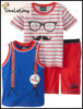 New design Cheap branded kids sports wear Factory baby clothing red stripe used clothing