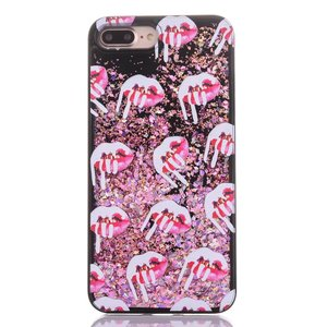 lips Cellphone Back Cover Case Dynamic Liquid Glitter Sand Quicksand Star PC For Iphone 5 6 6 plus 7 7 plus Phone Case