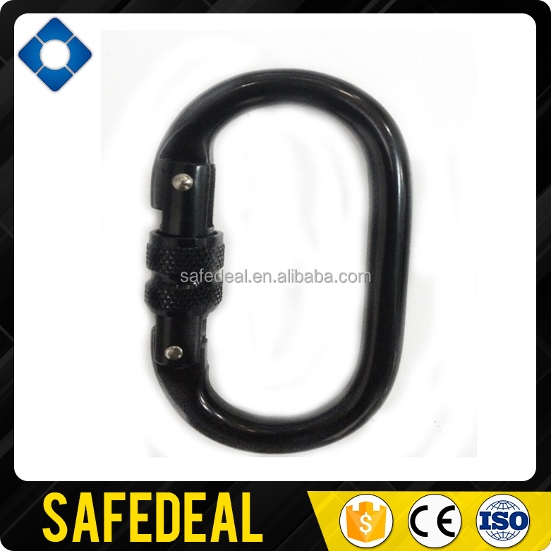 Black Screw gate Alloy Steel Oval Carabiner
