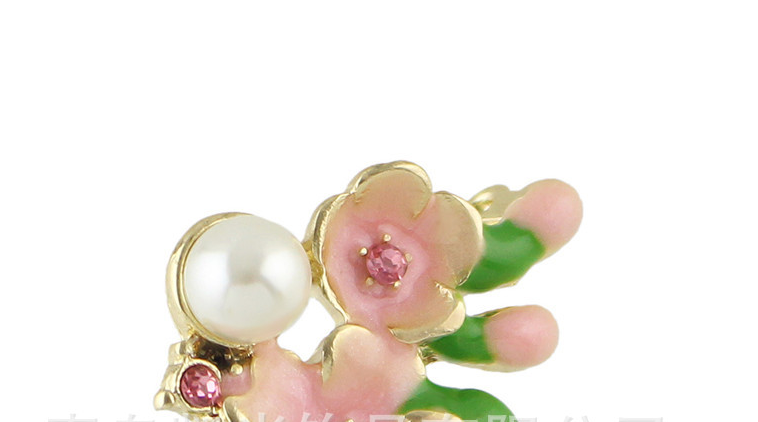 P53-022 green leaf pink flower beautiful enamel flower small floral brooch