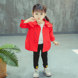 Hao Baby Autumn Korean Version Of The Solid Color Double-Breasted Women's Children's Windbreaker Children's Clothing Wholesale