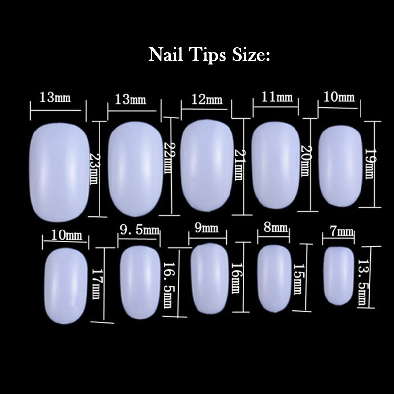 Oval short fake nail art designs tips