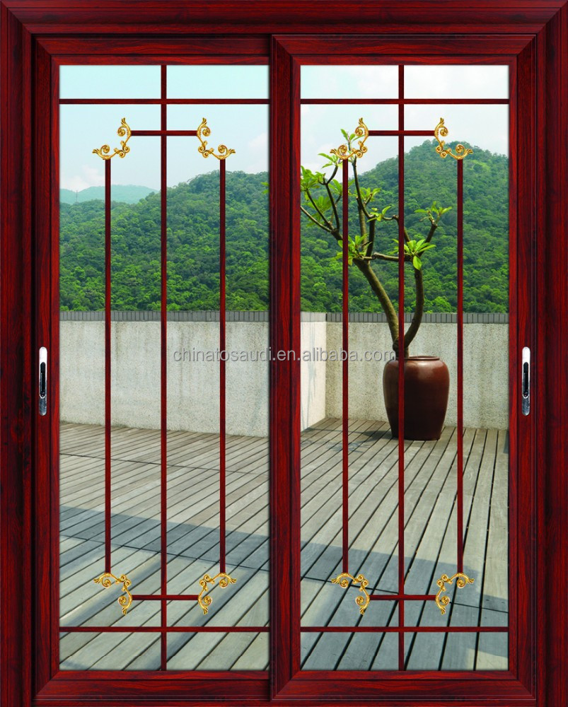 Sliding door grates graceful pvc sliding doors grill for Window design metal