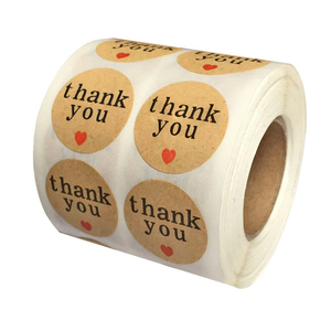 Natural Paper Kraft Thank You Sticker Labels with Red/Black Hearts, 1 Inch Round, 1000 Stickers per Roll