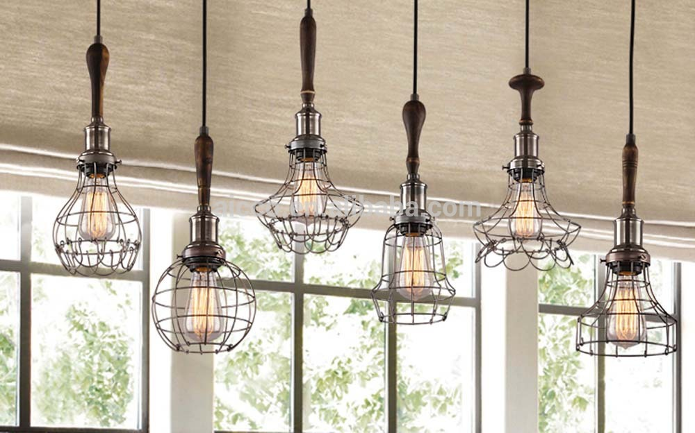 decorative pendant lighting vintage industrial style lights edison bulb with wooden wire cage. Black Bedroom Furniture Sets. Home Design Ideas