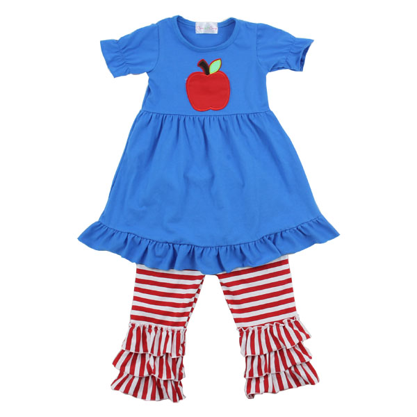 2016 baby girl dress outfit latest fall styles apple applique ruffle pants wholesale children clothing back to school outfit
