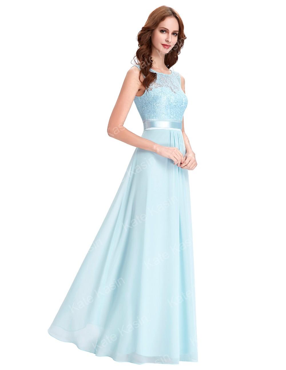 Kate Kasin Sleeveless V-Back Formal Light Blue Lace Chiffon Evening ...