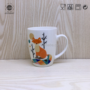 Low Price high quality porcelain Promotional milky White Cat Coffee Mugs/ top quality sublimation decal printing coffee mug