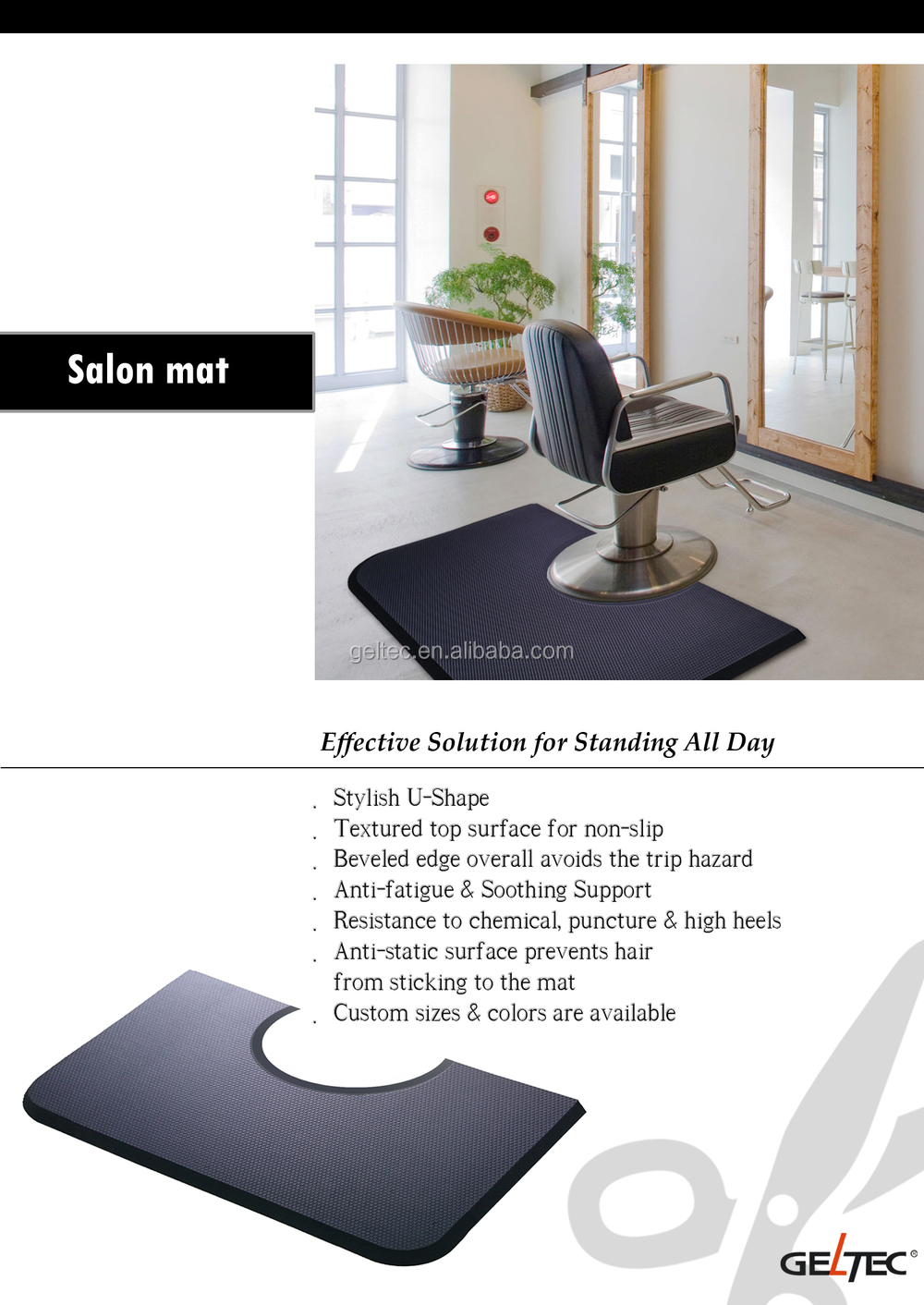 Rubber floor mats standing - Anti Fatigue Beauty Salon Anti Slip Waterproof Foam Rubber Floor Mat