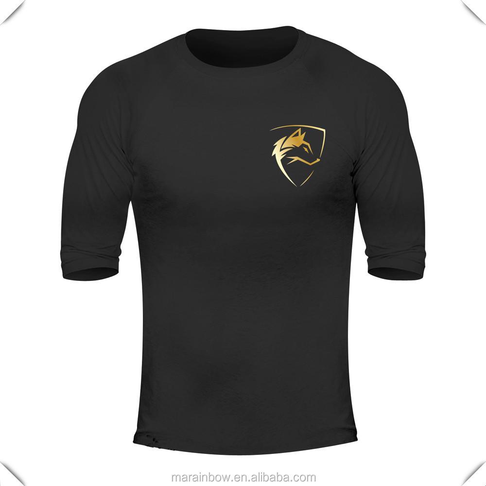 Black t shirt custom - Lightweight 95 Cotton 5 Elastane Mens Performance T Shirt Custom Printed Black Gym Shirts